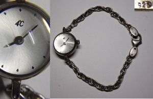 稼働品 4℃ クオーツ式腕時計 銀製ブレスレット鎖 0817T8G