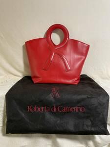 Roberta di Camerino ロベルタ ディ カメリーノ ハンドバッグ レザー 革 マグネットボタン ファスナーポケット 赤 レッド 保存袋付き