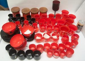 未使用品 MIZUSAKI HOPE glass ガラス製 コーヒーカップ&ソーサー ミルク シュガー入れ 喫茶店 赤×黒 水崎 昭和レトロ