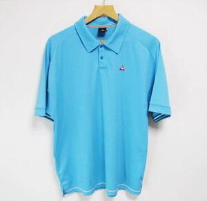 美品 le coq sportif ルコック ポロシャツ 半袖 ワンポイント刺繍 O 立体縫製 ブルー系 ゴルフウェア XL LL