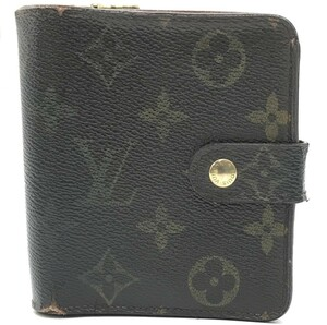 ジャンク品 LOUIS VUITTON ルイヴィトン LV モノグラム コンパクト ジップ 二つ折り財布 M61667 CT0064 レディース ホック式財布 PVC