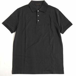 未使用品▽2017年製 ルイヴィトン LVサークル刺繍入り 半袖 ポロシャツ ダークブラウン S イタリア製 正規品 メンズ