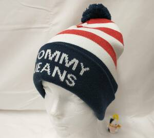 TOMMY HILFIGER トミーヒルフィガー TOMMY JEANS ニット帽 帽子 ホワイト レッド ネイビー ボーダー ボンボン付 店舗受取可