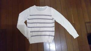★ef-de エフデ 長袖 セーター サマーセーター? 白×グレー ボーダー 7 s★