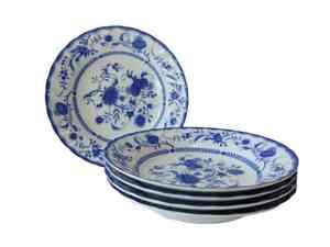 ファイブオニオン 21cm カレー皿 5個セット パスタ皿 スープ皿 カフェ風 シチュー皿 青 ブルー おしゃれ 北欧風 食洗機対応 レンジ可