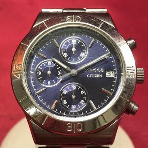 ●【YH-8252】動作未確認 CITIZEN シチズン Wicca ウィッカ 0510-L20450TA レディース クロノグラフ クォーツ腕時計【レターパックプラス】