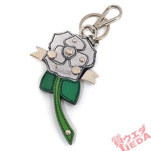 【栄】プラダ バッグチャーム キーホルダー キーリング バラ 小物 アクセサリー シルバー 緑 レディース