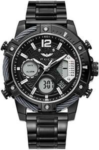 ブラック FEICE スポーツ 腕時計 メンズ ペアウォッチ 多機能 クォーツ LEDデジタル 時計 アナログ表示時計 防水 男`