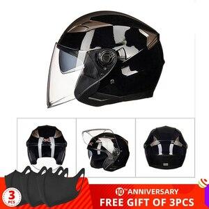 新品 ヘルメット オープンフェイス デュアルレンズ バイザー 電動 G708-Light 黒 バイク 保護 アクセサリー