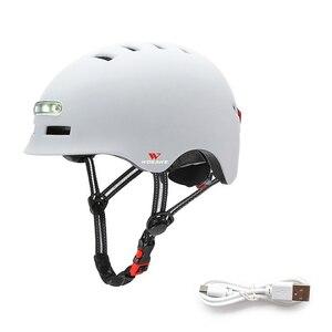 新品 ヘルメット 照明 ヘッドライト 警告 テールライト フラッシュ USB 充電 バランス スケート 安全 白 バイク 保護 アクセサリー