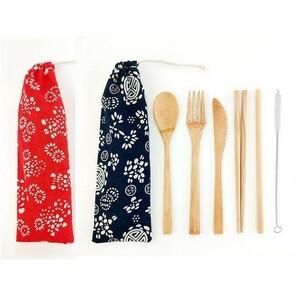 カトラリーセット 竹製 ポータブル 袋付 赤青 和柄