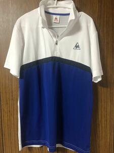 《le coq sportif GOLF ルコックゴルフ》ホワイトブルーハーフジップ 半袖シャツ Lサイズ