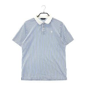 【即決】MUNSING WEAR マンシングウェア 半袖 ポロシャツ ストライプ柄 ブルー系 LL [240001582891] ゴルフウェア メンズ