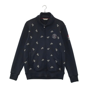 【1円】AND PER SE アンパスィ フルジップジャケット ロゴ 総柄 ネイビー系 L [240001585610] ゴルフウェア メンズ