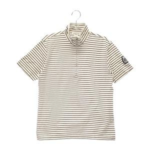 【即決】LANVIN SPORT ランバン スポール ハーフジップ 半袖Tシャツ ボーダー ホワイト系 40 [240001591228] ゴルフウェア メンズ