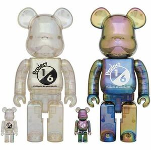 「BE@RBRICK project 1/6 100% & 400%  CLEAR CHROME Ver./BLACK CLEAR CHROME Ver.」ベアブリック