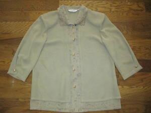 半袖 ジャケット レディース 7号 7R Sサイズ 茶系 黄土色 茶色 レディース 女性 ブラウス トップス きちんと系 秋口 肩パット入り ご婦人