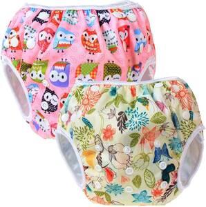 水遊びパンツ 2点セット 0-3歳 赤ちゃん用 ボタンでサイズ調整可能 防水外層 ポリエステルメッシュ内層 オムツカバー スイミング教室・公園
