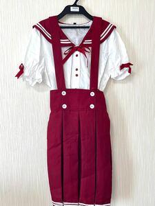 【送料無料】【匿名配送】ハロウィン コスプレ セーラー 赤 制服 2L リボン