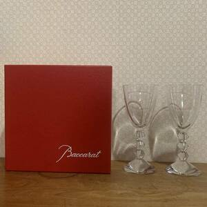 美品 バカラ Baccarat ベガ ペア ワイングラス クリスタルガラス 2脚 セット 小物入れ クリアカラー ディスプレイ 置物 オブジェ 送料無料