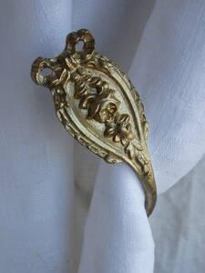フランスアンティーク カーテンフック リボン カーテンホルダー ブロンズ 青銅 蚤の市 ブロカント レリーフ ゴールド 1880年 19世紀
