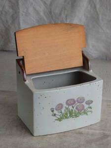 フランスアンティーク アリュメット ボックス 壁掛け 収納 木箱 陶器 ボタニカル 蚤の市 ブロカント