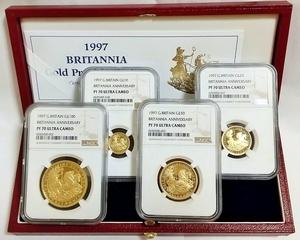 ALL 最高鑑定 1997年 英国 イギリス ブリタニア チャリオット 100ンド プルーフ 金貨 4枚セット NGC PF70 ULTRA CAMEO 箱付き 1オンス 1oz