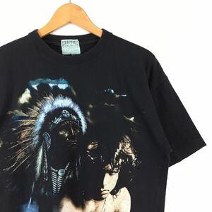激レア!【90s THE DOORS JIM MORRISON Tシャツ L】ヴィンテージ ジムモリソン ネイティブ 古着 大判 手刷り mosquitohead fifth column