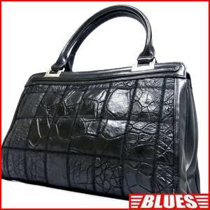 即決★N.B.★レザーハンドバッグ パッチワーク クロコ型押し メンズ 黒 本革 トートバッグ 本皮 かばん 鞄 レディース 手提げバッグ