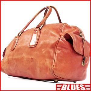 即決★N.B.★オールレザーボストンバッグ ビンテージ メンズ 茶 朱色 本革 トラベル 本皮 かばん 出張 カバン 旅行 鞄