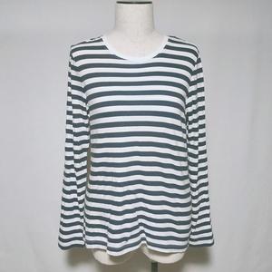 無印良品 Tシャツ ロンT カットソー ボーダー 柄 長袖 M 紺 ネイビー レディース /L