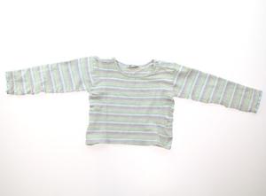 ディーパム DPAM Tシャツ・カットソー 110 女の子 水色・ピンク、白、黄緑ボーダー 子供服 ベビー服 キッズ(298862)