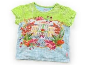 オイリリー Oilily Tシャツ・カットソー 80 女の子 ビーズ・黄緑水色・お姫様 子供服 ベビー服 キッズ(763912)