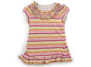 オシュコシュ OSHKOSH Tシャツ・カットソー 120 女の子 薄グレー・黄色オレンジピンク濃いピンクボーダー 子供服 ベビー服 キッズ(825940
