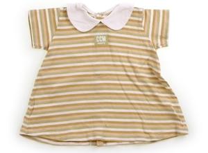 コムサフォセット COMME CA FOSSETTE Tシャツ・カットソー 80 女の子 ベージュ・黄緑・白ボーダー・白丸襟 子供服 ベビー服 キッズ(7717