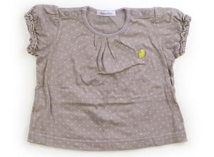 ファミリア familiar Tシャツ・カットソー 80 女の子 グレー・黄色・ドット柄 子供服 ベビー服 キッズ(787873)
