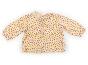 ミキハウス miki HOUSE Tシャツ・カットソー 80 女の子 薄黄色・オレンジ紫薄茶花柄 子供服 ベビー服 キッズ(784774)
