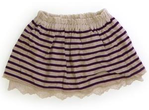 セラフ Seraph スカート 80 女の子 白デザインシャツ生地・カットソー紫ボーダー 子供服 ベビー服 キッズ(792824)