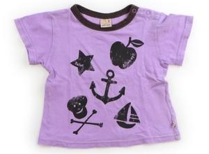 プティマイン petit main Tシャツ・カットソー 90 女の子 紫・ブラウン・ブラック・リンゴ・スカル 子供服 ベビー服 キッズ(795505)