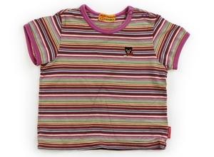 ダブルB Double B Tシャツ・カットソー 80 女の子 紫パイピング・茶黄緑赤黄色ボーダー 子供服 ベビー服 キッズ(795268)