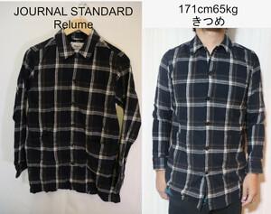 【メンズ】ジャーナルスタンダードRelumeネルシャツ/ブラックチェックカッコイイ♪裾ポケットS