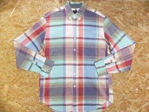 J.CREW ジェイクルー メンズ 綿 コットン100% 薄手 マドラスチェック ボタンダウンシャツ 白 青 赤 サイズL