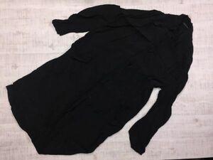 ヨウジヤマモト Y's モード とろみ素材 シャツブルゾン ロングジャケット メンズ 日本製 レーヨン100% 2 黒