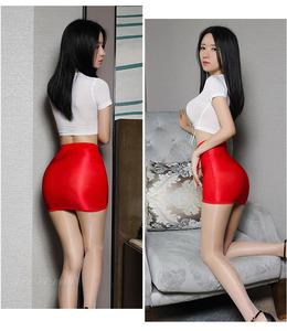 【午前購入で当日出荷】高密度光沢セクシータイトスカート(赤色)0404② 艶ありナイトウェアコスプレ衣装伸縮手触りサラサラ