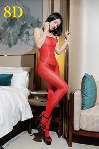 【午前購入で当日出荷】8D超光沢高密度オープンクロッチボディストッキング タイツ(赤色)0705 ナイトウェアコスプレ衣装パンスト艶あり