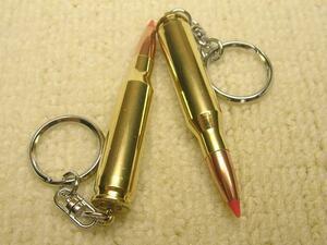 ◇キーホルダー・7mm・08ダミーカート1個{弾頭は新品・薬莢は再生品}