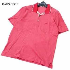 DAKS GOLF ダックス ゴルフ 春夏 ロゴ刺繍★ 半袖 ポケット ポロシャツ Sz.M メンズ 日本製 赤 A1T05291_5#A