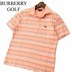 BURBERRY GOLF バーバリー ゴルフ ホース刺繍★ ボーダー 半袖 ポロシャツ Sz.M メンズ 日本製 A1T04887_4#A