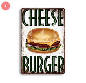 S-239 【デザイン7種類】ハンバーガー ポップコーン レトロな看板 壁アート レトロプラーク装飾 サイズ: 20×30cm