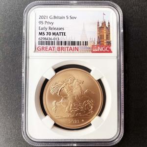 2021 英国 エリザベス2世 ソブリン 5 ポンド 金貨 未使用 NGC MS 70 MATTE ER 初鋳版 最高鑑定 完全未使用品 元箱付 世界最安値! イギリス